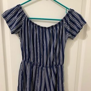Blue and White Striped Off the Shoulder Romper